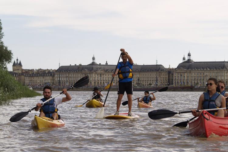 Paddleboarding along the Garonne River